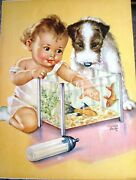 Vintage Print By Charlotte Becker Of Baby,terrier Puppy, Bottle And Fish Bowl