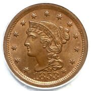 1853 N-3 Pcgs Ms 65 Bn Cac Braided Hair Large Cent Coin 1c