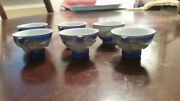Vintage Chinese Porcelain Tea Cups, Set Of Six, With Raised Dragon Artwork