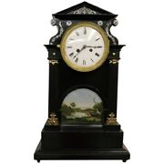 19th Century Inlaid Wood With Miniature Painting Antique Table Clock Pendule