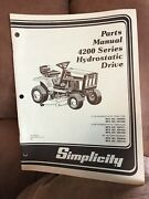 Simplicity Lawn Garden Tractor 4200 Series Hydrostatic Drive Parts Manual