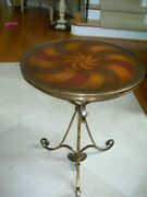 Theodore Alexander Art Deco Leather Parquetry Gilt Wrought Iron Accent Table