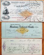 Helena Montana Mt Super Collection 36 Different Bank Checks/cheques 1866-1902