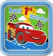 8ct Disney Cars 1st Birthday Party Supplies Dinner Plates Square Champ