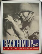 1943 Back Him Up With More Ge Production General Electric World War Ii Poster