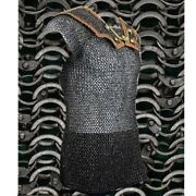 Ms Black Roman Lorica Hamata 6 Mm Fat Riveted Soiled Ring Xl Chain Mail Armour