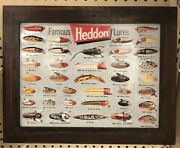 Heddon Famous Fishing Lures Sign Metal Wall Hanging Nautical Decor New Embossed