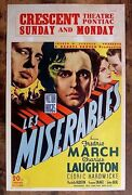 Les Miserables '35 Window Card Poster Fredric March And Charles Laughton R