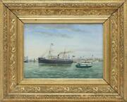Nautical Art Marine Seascape Oil Painting Steamship And Yacht 1896