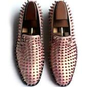 Mens Pink Spike Studded Rivet Slip On Pumps Leather Loafers Flats Flat Shoes New