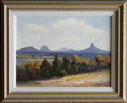 Dudley Parker 1914-89 Original Oil Painting Peaks Of Glass House Mountains Qld