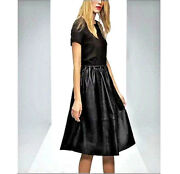 Nwt 287 Asos Premium Midi Dress With Genuine Leather Skirt And Jersey Top