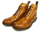 Loake Bedale Leather Boots Shoes Boat Frame Sewn Budapest Whisky Light Braun