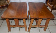Mid Century Pair Of Solid Elm / Oak Ranch Style End Tables / Side Tables T741
