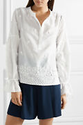 Nwt 179 Designer J.crew Falling Blossoms Broderie Anglaise Shirt White