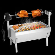 Stainless Steel Bbq Grill Charcoal Pig Spit Roaster Rotisserie Barbeque 220v