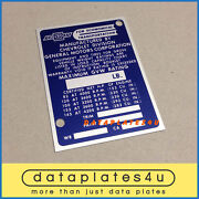 Privat Auction For Buyer - Cpainindy - Chevrolet Door Post Plate 1964-1965