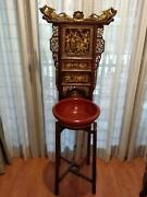Chinese Qing Dynasty Basin Stand With Opera Scene Gilt Carvings