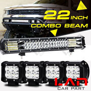 280w Led Work Light Bar + 4pc 18w Spot Beam And Flood Combo Light For Jeep Ford At