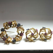 Vintage Natural Ruby And Sapphire Wreath 18k Yellow Gold Brooch And Earrings Set