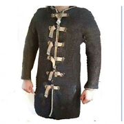 Flat Riveted Rings Chainmail Armour/medieval Large Size Hauberk Black
