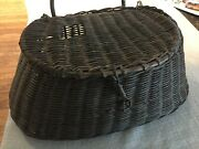 Antique Brown Fishing Creel, Used For Decorating