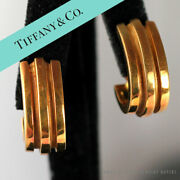 Rare And Co Atlas Double Groove 18k Yellow Gold Earrings