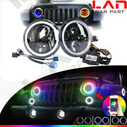 🔥color Changing Angel Eyes Led Headlight For Jeeps Suv Off Road Motorcycles Diy