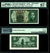 China 20 Cents Ps2437s1 1935 The Kwang Tung Provincial Bank Specimen Gem 67epq