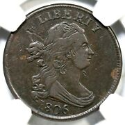 1806 C-2 R-4 Ngc Vf Details Small 6 W/ Stems Draped Bust Half Cent Coin 1/2c