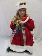 Vintage Very Rare Beautiful Porcelain Doll Collectors With Stand 21 Tall