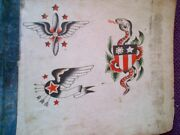 Awesome Rare Original Hand Painted 1920-30s Classic Bowery Navy Tattoo Flash