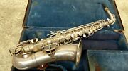 Vintage Early Martin Saxophone Sax In Case Indiana Band Inst. Leatherette Case
