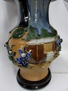Sumida Gawa Cliffwalkers Vase Lamp Antique Hand Painted Japanese Pottery Ceramic