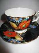 Rare Aynsley Cup Saucer. Black. Raised Floral Poppies Gold Trim Rego No. 765788