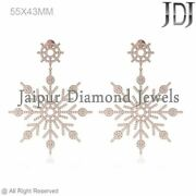 3.67cts Natural Pave Set Diamond 14k Rose Gold Snowflake Dangle Earrings Jewelry