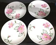 4 Knowles Sweetbriar Heavy Dinner Plates Dishes 10 1/4 X-2241-0 Made Usa 1940s