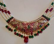 Real Ruby Emerald Pearls Necklace Set 20k Gold Punjabi Muslim Jewelry India