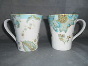 4pc 222 Fifth Eliza Spring Turquoise Cups Mugs Gold Accents Peacock