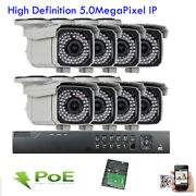8ch H.265 Network Nvr 5mp Ip Onvif Wdr Ir 88 Outdoor Poe Security Camera System