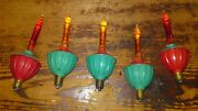 5 Vintage Noma Tulip Glass Candle Style Bubble Lights Christmas Tree Lights