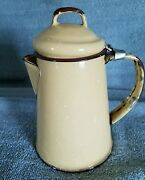 2 Cup Coffee Pot Graniteware Brown, Yellow And White Speckled 6 1/4 Tall