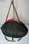 Collectible, Fre-mor Jet Bead Purse, Bakelite Frame, Chain Handle, Very Nice