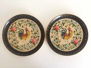 Vintage 1940and039s Japan Handpainted Lacquer Rooster Decorative Plates - A Pair