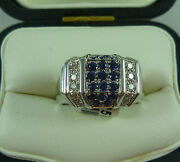 Fabulous 18k/carat White Gold Deco Style Sapphire And Diamond Ring New In Box