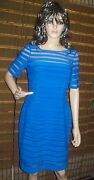 Adrianna Papell Shutter Solid Bodycon Dress Navy Blue Size 8 160 Nwt