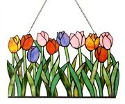 Style Stained Cut Glass Window Panel Multi-color Tulip Floral Design