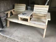 Outdoor Wood Furniture Bench With 2 Seats And Table Handmade In Canada