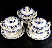 C1800 Three Antique Spode Creamware Sauce Tureens With Cover And 2 Stand