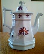 Antique Ironstone Coffee Pot White Embossed Lavender Blue Grape Pattern E Walley